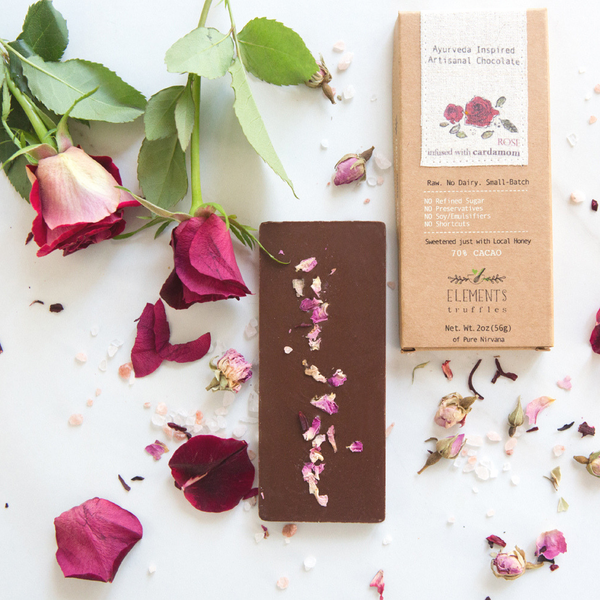 Rose Chocolate Bar with Cardamom Infusion by Elements Truffles - ayurveda, cardamom, cardamom rose chocolate, chocolate, chocolate bar, chocolate bars, chocolates, dairy free, dairy free chocolate, dark chocolate, Eco, edibles, education, elements truffles, ethically sourced, fair-trade, gifts-for-the-host, gifts-for-the-occasion, Hand Crafted, hand made, organic, organic chocolate, raw, raw chocolate, Rose, rose cardamom chocolate, rose chocolate, Sustainable