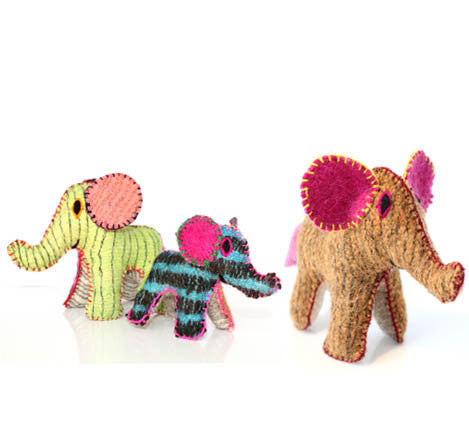 Twoolies Handmade Fair Trade Wool Elephant - Stuffed Animals - Shop Nectar - 3