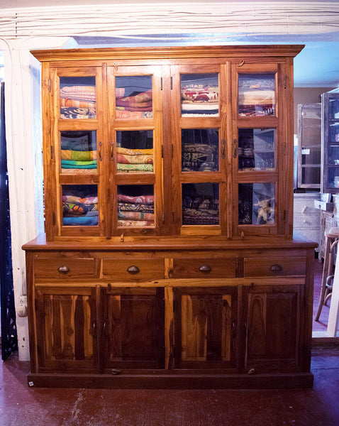 Extra Large Wood and Glass Two-Part Hutch