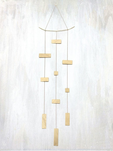 3 Strand Rectangular Mobile by Fail - american-made, brass, Brushed, mobile, mobiles, newborn, rectangular, room-decor, textured