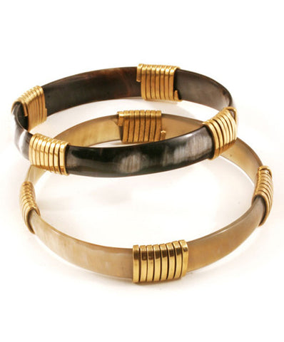 Fair Trade Stackable Horn and Brass Bangle - Bangles - Shop Nectar - 1