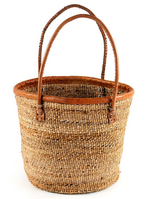 Fair Trade Hand Woven Banana Fiber Basket - africa, African, baskets, bathroom, Boho Chic, Brown, decor, eco, fair-trade, Hand Woven, handmade, organizing-storage, shopping bag, storage, sustainably, sustainably harvested, Tote