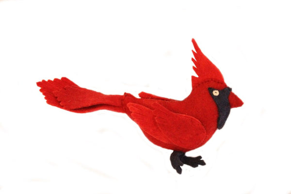 Fair Trade Felt Cardinal Ornaments - animal ornament, cardinal, decor, Eco, eco friendly, fair-trade, felt, Felted, handmade, hanging-ornaments, holiday-decor, ornament, ornaments, social-responsibility, supporting-women, wool
