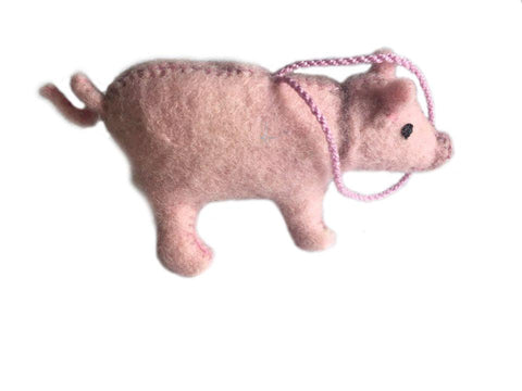 Fair Trade Felt Pink Pig Ornaments - animal ornament, decor, Eco, eco friendly, fair-trade, felt, Felted, handmade, hanging-ornaments, holiday-decor, ornament, ornaments, pig, social-responsibility, supporting-women, wool