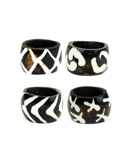 Fair Trade Batik Bone Napkin Rings - africa, african, eco, fair-trade, handmade, kitchen-dining, napkin-holders, sustainably, sustainably harvested, tabletop-dinnerware-1