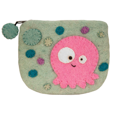 Handmade Felted Jellyfish Coin Purse