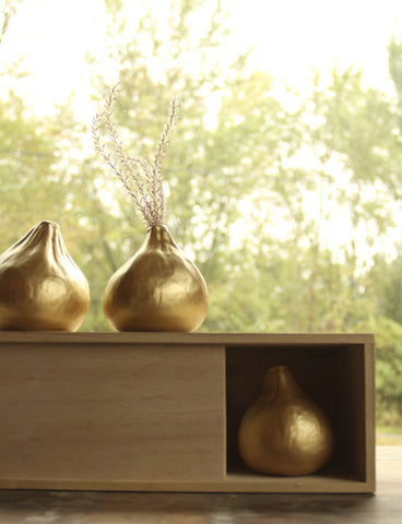 Roost Golden Fig Vases - accent-details, bohemian-chic, Boho Chic, decor, gold, Roost, vases, wedding-decor