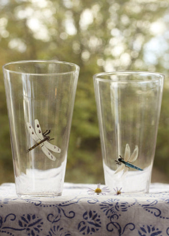 Roost Hand Etched Dragonfly Glasses - Dragonfly, Entertaining, Etched, etched glass, etched glassware, glassware-1, Glasswear, handmade, kitchen-dining, Roost, tumblers-cocktail-glasses