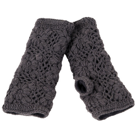 Fair Trade Flower Crocheted Fingerless Gloves - assorted-styles, fair-trade, fingerless gloves, gloves, hats-scarves-gloves, knitted