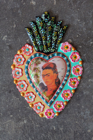 Large Fair Trade Frida Kahlo Heart Wall Hangings - Wall Hangings - Shop Nectar - 1