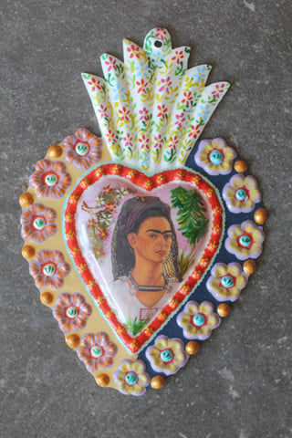 Large Fair Trade Frida Kahlo Heart Wall Hangings - Wall Hangings - Shop Nectar - 3