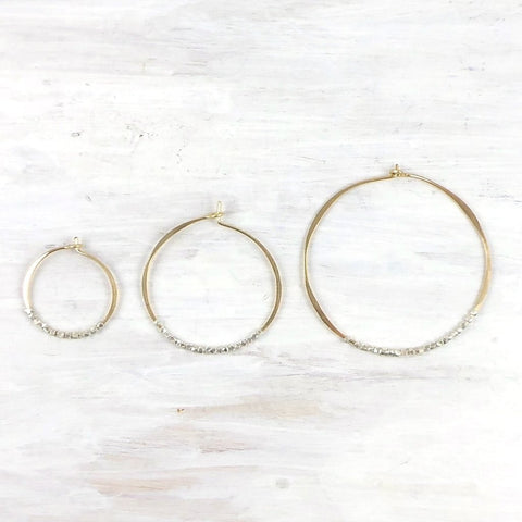 Sterling Silver Bead Hoop Earring by Fail - 14k Gold, accessories, american-made, assorted-styles, bead, Beaded, beads, earring, earrings, gold, handmade, hoops, jewelry, Sterling Silver