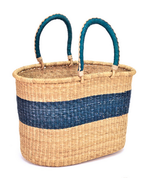 Ghanaian Blue Stripe Shopping Basket - africa, african, baskets, bathroom, Boho Chic, decor, eco, eco-friendly, fair-trade, Ghana, Hand Woven, handmade, leather, organizing-storage, storage, Sustainable, sustainably harvested