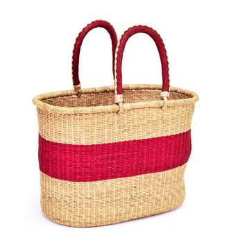 Ghanaian Red Stripe Shopping Basket - africa, african, baskets, bathroom, Boho Chic, decor, eco, eco-friendly, fair-trade, Ghana, Hand Woven, handmade, leather, organizing-storage, storage, Sustainable, sustainably harvested