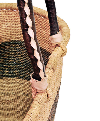 Ghanaian Coffee Stripe Shopping Basket - africa, african, baskets, bathroom, Boho Chic, decor, eco, eco-friendly, fair-trade, Ghana, Hand Woven, handmade, leather, organizing-storage, storage, Sustainable, sustainably harvested