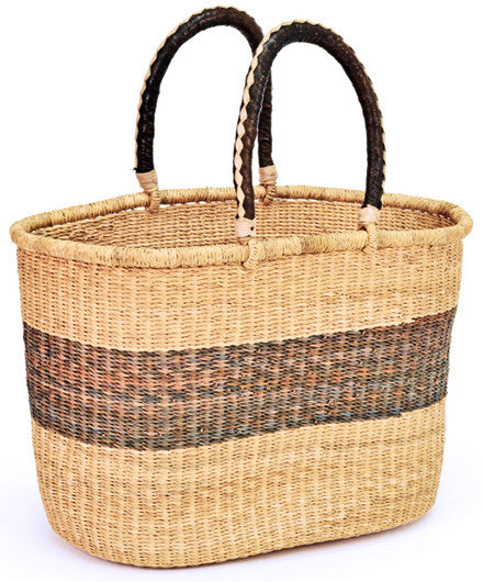 Ghanaian Coffee Stripe Shopping Basket - Baskets - Shop Nectar - 1