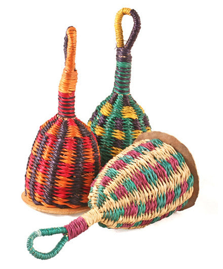 Ghanaian Woven Straw Maraca Shakers - africa, african, blue, eco, fair-trade, green, Hand Woven, Handcrafted, handmade, music-instruments, new-arrivals-in-kids, organic, red, shakers, sustainable, sustainably harvested, Swahili African Modern