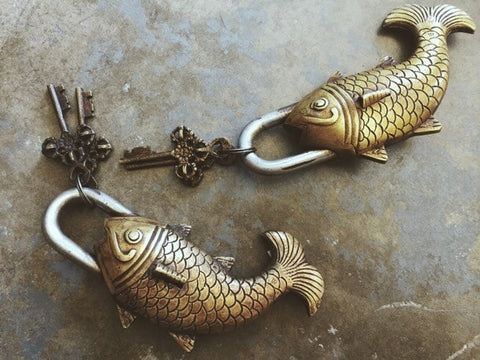 Antiqued Fish Padlock