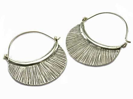 Hill Tribe Half Circle Sterling Silver Dangle Earrings - Hoops - Shop Nectar
