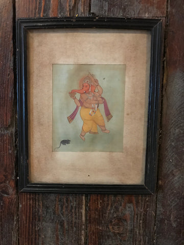 Vintage Devotional Ganesha Print in an Antique Frame - art, bohemian-chic, Boho Chic, decor, devontional, Devotional, Ganesh, Ganesha, Gift, gifts, gifts-for-her, hindi, Hindu, hinduism, India, Indian, Indian divinities, one-of-a-kind, paintings-prints, Print, reclaimed-wood, wood