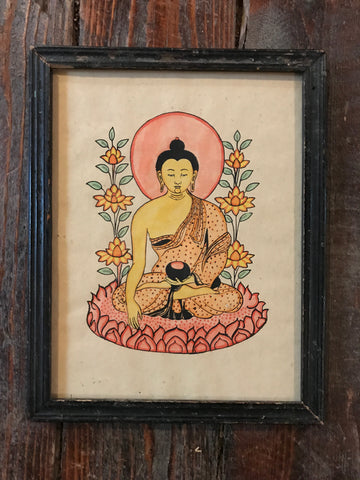 Buddha Meditating On Lotus- Antique Indian Devotional Art Print - antique, art, assorted-styles, bohemian-chic, Boho Chic, buddah, Buddha, buddhism, buddhist, decor, Gift, gifts, hindi, Hindu, hinduism, India, one-of-a-kind, paintings-prints, reclaimed-wood, vintage, wood, zen