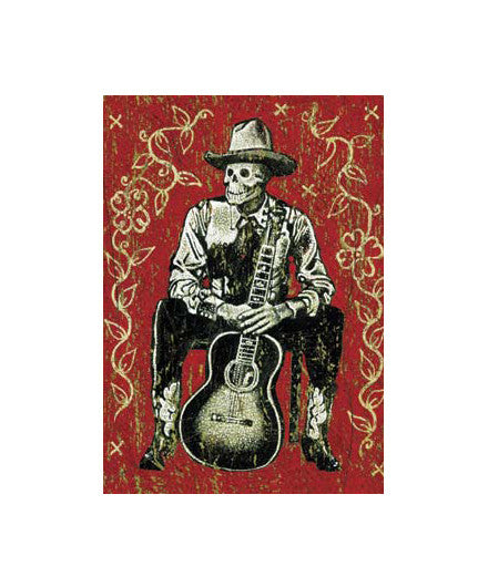 Cowboy Skeleton Posing with Guitar Magnet - Day of the Dead, gifts-for-him, Magnet, magnets, Mexico, Oddities - Trinkets - Treasures, oddities-treasures, Odds & Ends