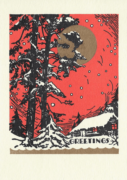 "Saturn Press ""Red Sky"" Letterpress Card"