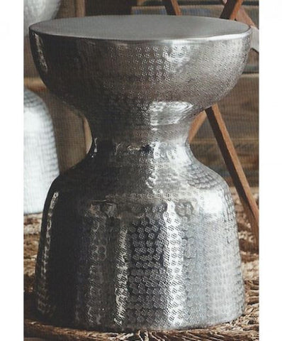 Roost Recycled Aluminum Jigger Stool - aluminum, Embossed, Ethnic, furniture, Hand Embossed, Jigger, Polished, recycled, Roost, seating, Stool, stools, tables-seating, Tribal