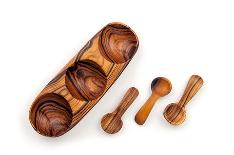 Fair Trade Wild Olive Wood Triple Spice Bowl with Spoons