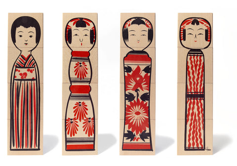 Wooden Block Kokeshi Doll- uncle-goose, house-industries, kokeshi-doll, dolls, doll, puzzle, kids, toy, toy, usa-made, american-made, locally-sourced, lead-free, non-toxic, basswood
