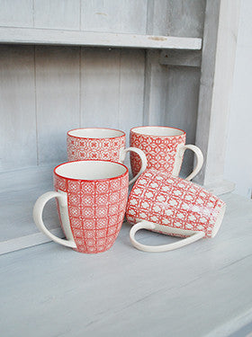 Chehoma Red & White Ceramic Mugs - Mugs - Shop Nectar - 1