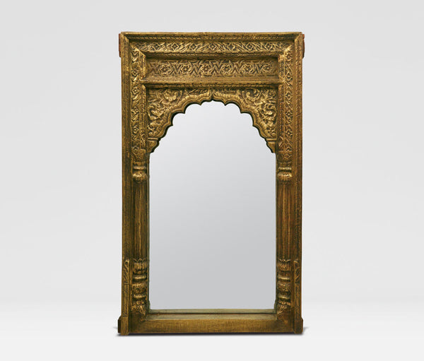 Hand-Carved Golden Antiqued Indian Mirror - Wall Mirrors - Shop Nectar