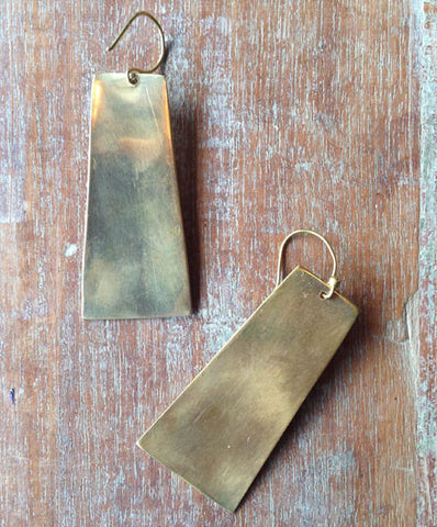 Meyelo Brass Shield Fair Trade Earrings - Drop Earrings - Shop Nectar - 2