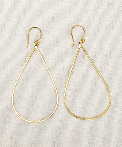 Meyelo Brass Teardrop Hoop Fair Trade Earrings - Hoops - Shop Nectar - 2