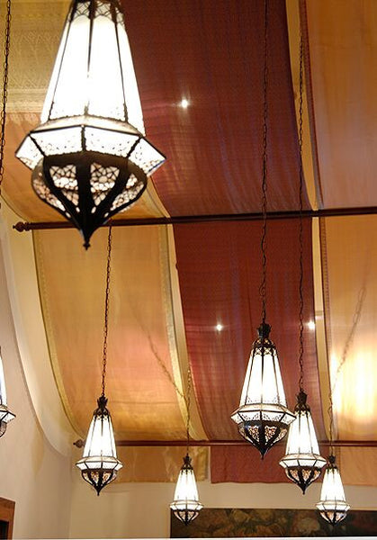 Elongated Faceted Filigree Pendant Lights