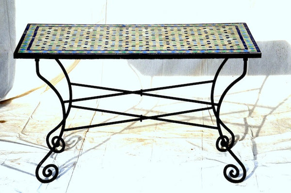 Moroccan Tiled Table with Iron Base - Outdoor Dining - Shop Nectar - 1