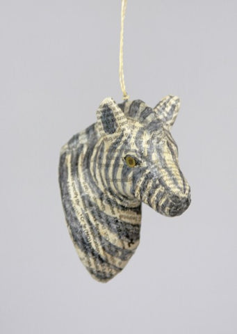 Zebra Head Paper Christmas Ornament - animal ornament, Animals, buddah ornament, christmas ornament, christmas ornaments, decor, hanging-ornaments, Holiday, holiday-decor, ornament, Paper Mache, Zebra