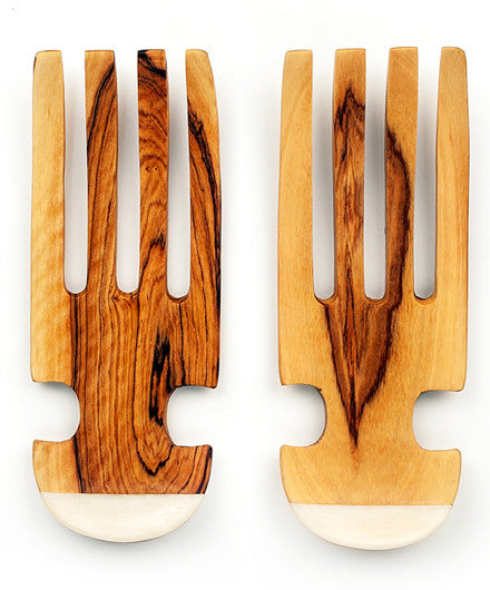 Olivewood Fair Trade Salad Tossing Claws with Bone Handles - Serving Utensils - Shop Nectar - 1