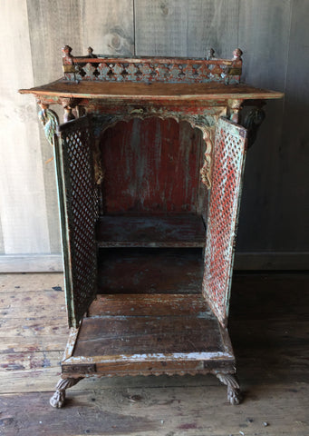 Antique Painted Shrine - altar, altars, antique, decor, Devotional, Eco, eco friendly, Indian, meditation, new-arrivals-in-decor, oddities-treasures, one-of-a-kind, sacred, shrine, shrines, statuaries-and-shrines, vintage, wood