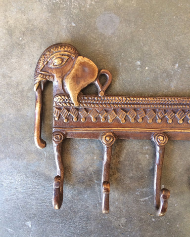 Ornate Brass Animal Wall Hook Rack - assorted-styles, bathroom, Boho Chic, brass, decor, Elephant, elephant key holder, elephant key hook, Gift, gift for her, hardware, hardware-fixtures, horse, horse key holder, horse key hook, India, key holder, key hook, kitchen-dining, new-nectar-exclusives, one-of-a-kind, wall-hooks