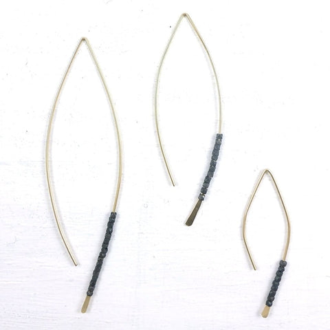 Oxidized Bead Crescent Spear Earrings by Fail - 14k Gold, american-made, assorted-styles, drop-earrings, earring, earrings, for her, gift, gift for her, gold, silver, sterling silver