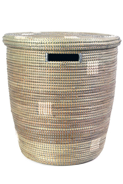 White on Silver Fair Trade Sahara Hamper - africa, African, Basket, bathroom, decor, eco, fair-trade, hampers, handmade, organizing-storage, patterned, recycled, storage, sustainably, sustainably harvested