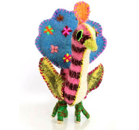 Twoolies Handmade Fair Trade Wool Peacock - Stuffed Animals - Shop Nectar - 1