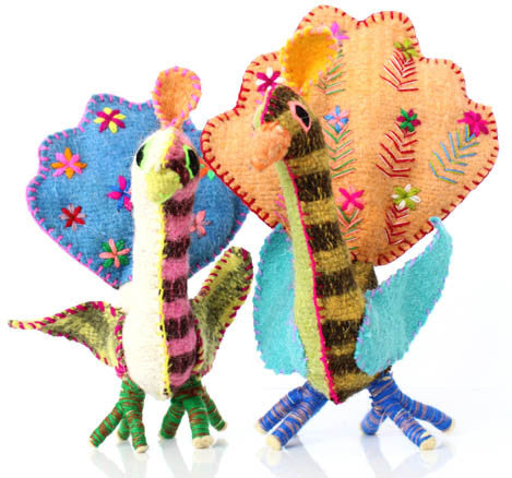 Twoolies Handmade Fair Trade Wool Peacock - Stuffed Animals - Shop Nectar - 3