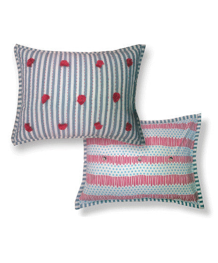 Pehr Blue and Red Quilted Nursery Double-Sided Pillow - Kids Pillows - Shop Nectar