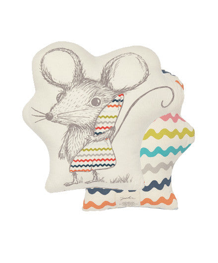 Pehr Sleepy Time Mouse Pillow - baby-shower-gifts, bedding-textiles, Chevron, fair-trade, Fox, gifts-for-the-occasion, kids-pillows, organic-cotton, Pehr, pillows, room-decor