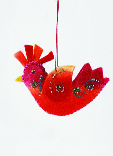 Felt Rooster Christmas Ornament - assorted-styles, christmas ornament, christmas ornaments, Cody Foster, decor, felt ornament, Felted, hanging-ornaments, Holiday, holiday-decor, ornaments, Rooster, rooster ornament, rooster ornaments