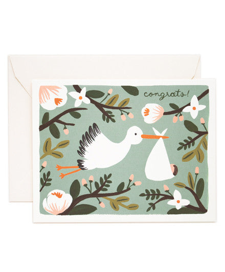 Rifle Paper Company Congrats Stork Greeting Card - Greeting Cards - Shop Nectar