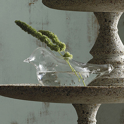 Roost Clear Glass Bird Vase - accent-details, Bird, Blown Glass, decor, handmade, Roost, vases, wedding-decor