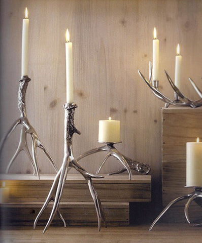 Roost Polished Antler Candlestick Holder - accent-details, aluminum, Candle sticks, candles-diffusers-incense, candlestick-holders, christmas, decor, gifts-for-the-couple, gifts-for-the-host, gifts-for-the-occasion, handmade, holiday-decor, kitchen-dining, Roost, rustic, tabletop-dinnerware-1, wedding-decor, wedding-gifts